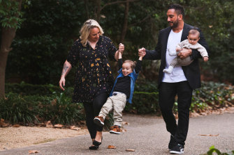 Leah and David Pereira, pictured with their sons Noah, 3, and baby Roman, say cost is a major barrier to them being able to use as much childcare as they would like.