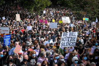 Crowds at the Melbourne March 4 Justice on Monday protested sexual assault and harassment.
