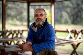 Stringybark Lodge owner Anthony Hall at his school camp in Gembrook.