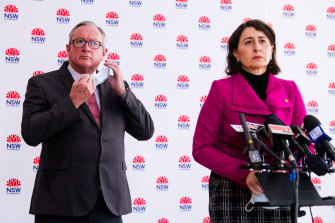 NSW Health Minister Brad Hazzard, left, says mask rules will be tightened in the state.