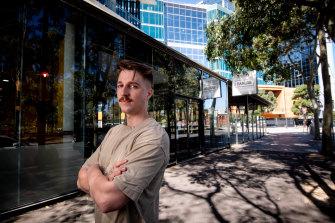 Connor Cunliffe, pemilik Barlog Espresso di Docklands, awal tahun ini.