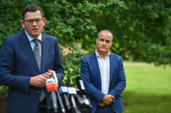 Daniel Andrews and James Merlino making the announcement on Thursday.
