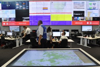 Scenes from inside the NSW RFS Operations Centre.