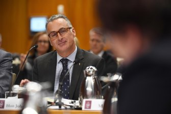 Sports Minister John Sidoti at a budget estimates hearing in September.