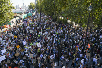 Climate protesters gathered in London on Friday as part of a coordinated strike around the world.