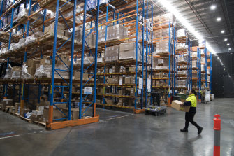 A distribution centre photographed in 2017, long before the virus hit and freight volumes skyrocketed.