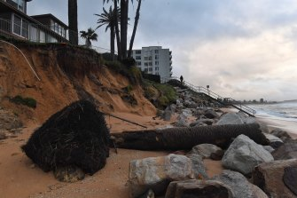 Beach damage in Narrabeen on Tuesday morning after overnight powerful surf and high tides.