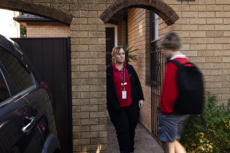 Renae McNamara with her son at their south-east Sydney home.