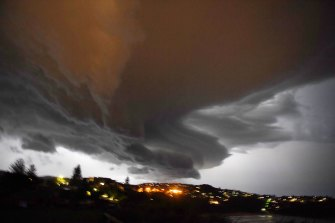 Tuesday night's storm as it moved into the northern beaches, causing widespread blackouts from strong winds and lightning.