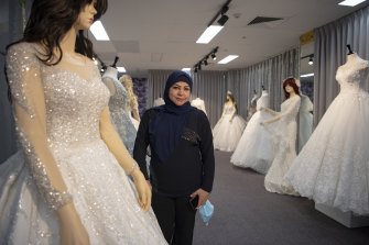 Wafa Rabeie, who runs a bridal shop in Fairfield, believes it will take months for people in the area to host weddings after many lost income during the lockdown.