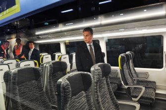 Transport minister Andrew Constance shows off the new Intercity train fleet on Tuesday at Hurstville.
