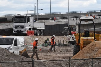 The M8 construction site in St Peters on June 24.