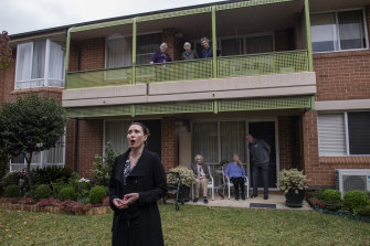 Opera Australia soprano Jane Ede performing at the Alan Walker Village in the Sydney suburb of Carlingford.