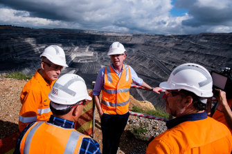 NSW Nationals leader John Barilaro and Treasurer Dominic Perrottet at the Ravensworth mine on Thursday.