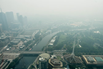 The view from the Eureka Tower showed a city covered in bushfire smoke.