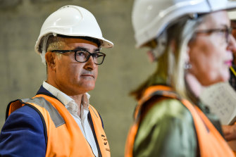 Acting Premier James Merlino and Minister for Transport Infrastructure Jacinta Allan address the media at the eastern entrance to the Metro Tunnel on Thursday.