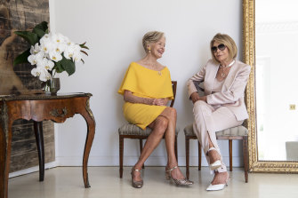 Carla Zampatti with Quentin Bryce at her Woollahra home. Carla launched her own magazine for her 55th year in business.