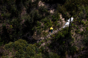 A National Parks and Wildlife Service staffer working on repairs to a bushwalking track. The white bags contain three 200 kilogram sandstone steps that are lowered in by helicopter.