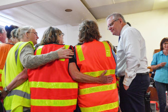 Scott Morrison at the Lucknow donation centre on Friday.