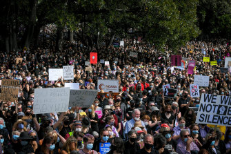 Crowds streamed into Treasury Gardens at 12 noon on Monday for the March 4 Justice.