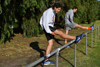 The twins have different training regimes to undertake from their clubs, St Kilda and Gold Coast.