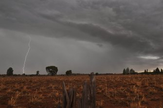Storms rolled through the parched landscape near West Wyalong in the state's central west.