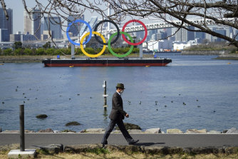 The Olympic rings float off Odaiba in Tokyo.
