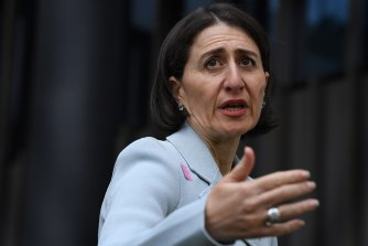 NSW Premier Gladys Berejiklian addresses the media on Tuesday.