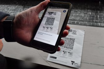 Checking in with a QR code.
