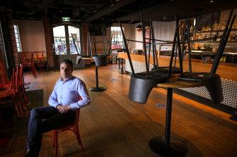 Australian Venue Co chief executive Paul Waterson in his shut-down Duke of Wellington pub last month.