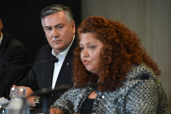 President Eddie McGuire and Collingwood integrity committee member Jodie Sizer on Monday.