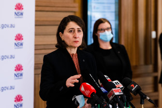 Premier Gladys Berejiklian and Education Minister Sarah Mitchell announcing the back to school plan on Friday.