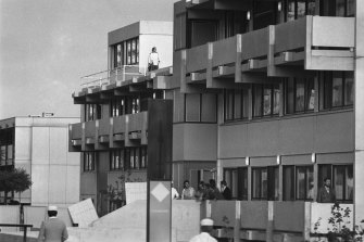 Arab terrorists hold Israeli hostage in the Olympic village during the 1972 Olympic Games in Munich.