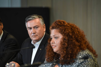 Eddie McGuire fronts the press over a leaked report of systemic racism at the club on Monday.