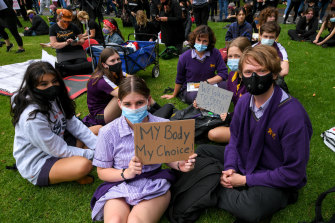 School students attend the March 4 Justice rally at Treasury Gardens.