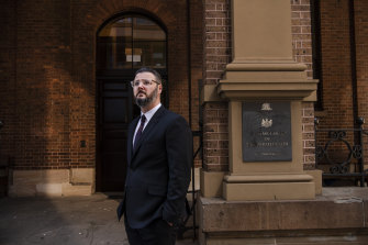 Sydney barrister Damian Beaufils outside the Supreme Court in King Street.