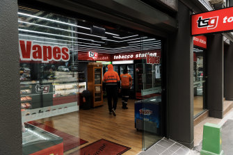 A convenience store in Sydney advertises vapes.
