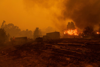 The historic town of Mogo, south of Batemans Bay on the South Coast, was devastated by fires on Tuesday.