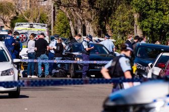 Police outside a residence on Denison Road, Dulwich Hill, where a man was located after a stabbing in nearby Marrickville.
