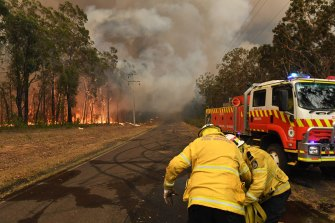 RFS volunteers at Oakdale, where the Green Wattle Creek fire was briefly bought under control on Thursday.
