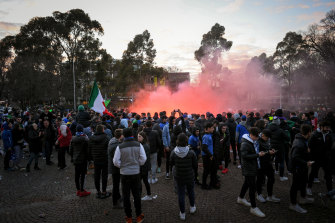 Hundreds of people attended the festivities at Lygon Street on Wednesday morning.