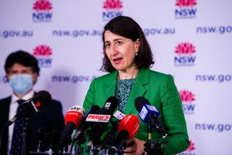 Premier Gladys Berejiklian addresses the COVID-19 briefing on Wednesday.