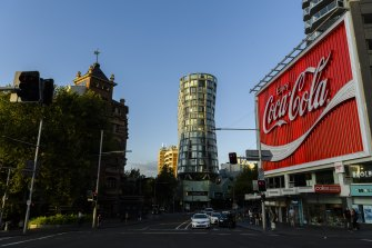 The landmark Coca-Cola sign at Kings Cross.