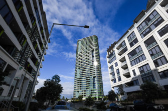 The 36-storey Opal Tower dominates the entrance to Sydney Olympic Park.