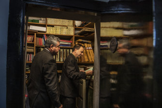 Ken Shelston of Waverley Cemetery and John Wakefield, mayor of Waverley, in the fireproof vault where historic records, including the right of burial certificates are kept.