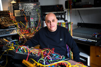 Electronic dance musician David Haberfeld at his home studio.