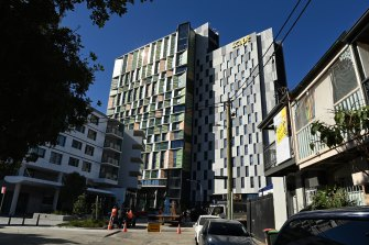 Victoria will not use student accommodation buildings like this one in Sydney to quarantine students.