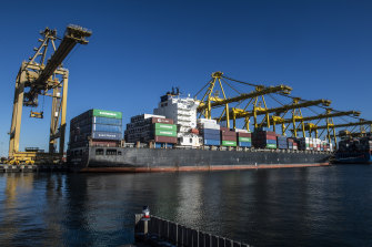 The volume of container ship arrivals is growing fast at Port Botany, NSW