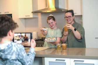Mel Wityk, daughter Isabella and son Matthew, practise for video entries to the Royal Melbourne Show's cookery competition.