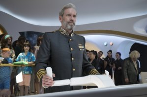 Hugh Laurie plays the captain of a luxury space cruise ship in the sci-fi spoof Avenue 5 on Foxtel.